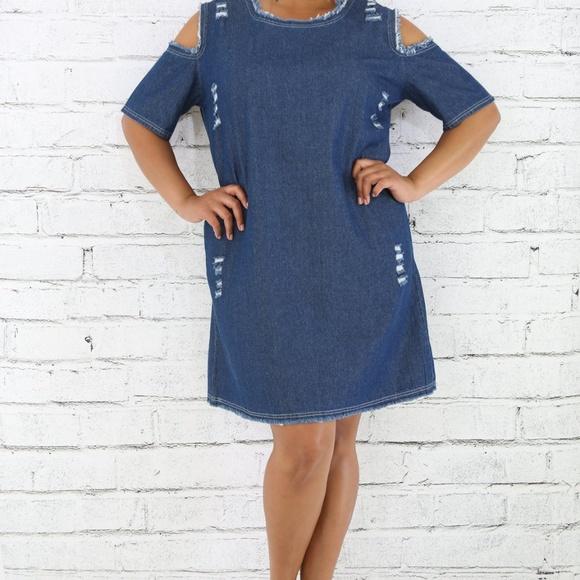 Dresses Plus Size Distressed Cold Shoulder Denim Dress Poshmark